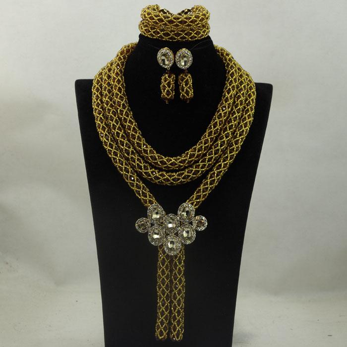 2016 Latest Chocolate Brown Traditional Wedding Nigerian Jewellery Set Bridal Pendant Statement Necklace Set Free Shipping WA877<br><br>Aliexpress