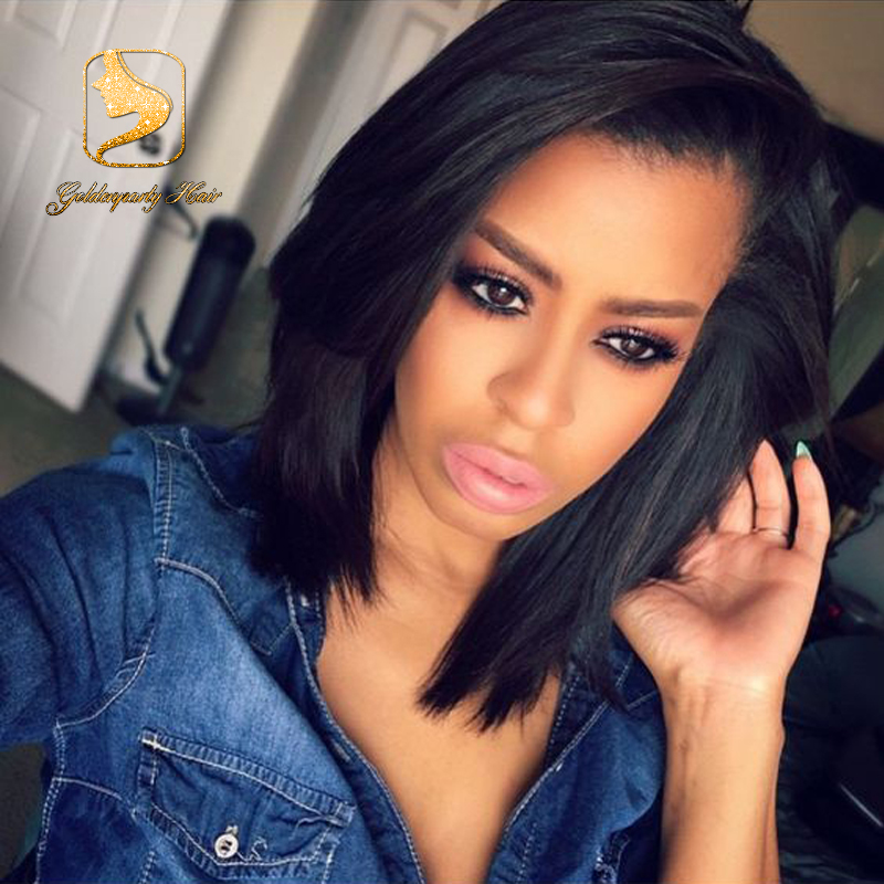 7A Brazilian Virgin Glueless Short Straight Lace Front Human Hair Wigs For Black Women Full Lace Straight Wigs With Baby Hair<br>
