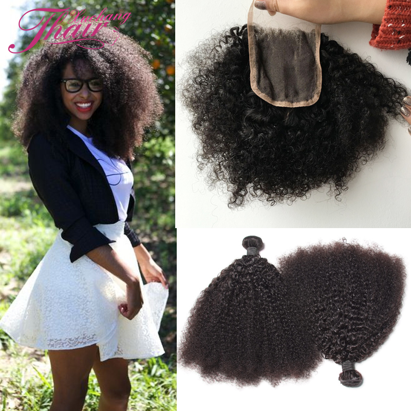 8a Peruvian Afro Kinky Curly Virgin Hair With Closure 4pcs,3 Bundles Kinky Curly Peruvian 100 Human Hair Weave With Lace Closure<br><br>Aliexpress