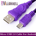 Millionwell Purple Android Mobile Phone Cable 0 6m 1 2m 2m 3m Micro USB Cables Data