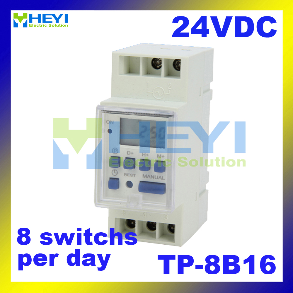 Microcomputer Timer Switch JF-15B / TP-8B16 DC 24V Din Rail Weekly Programmable digital time controller(China (Mainland))