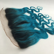 Full Shine Ear to Ear Lace Front Closure Two Tone Color 1B Ombre Teal 13″ x 4″ Body Wave Lace Closure With Bleached Knots