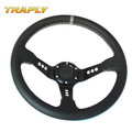 350MM PVC Steering Wheel Racing Car White Stitch With 9 Holes Black Spokes Universal OMP Steering