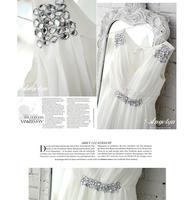 Белый шифон v-образным вырезом короткий мать невесты платья 2015 моды элегантное вечернее платье.12337
