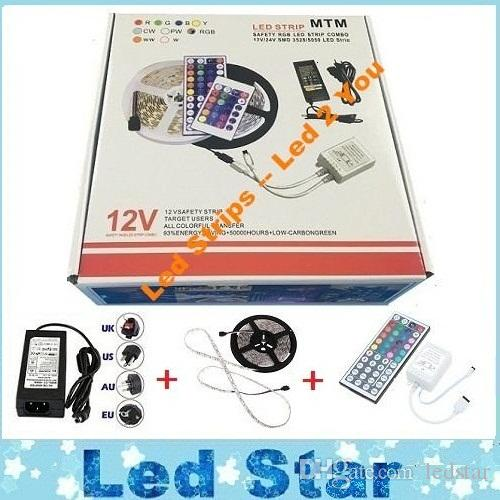 Exquisite Packaging Box + Led Strips Light Kit 5M 300LEDs SMD 5050 RGB Led Strips Waterproof + 44keys Controller + Power Drivers(China (Mainland))