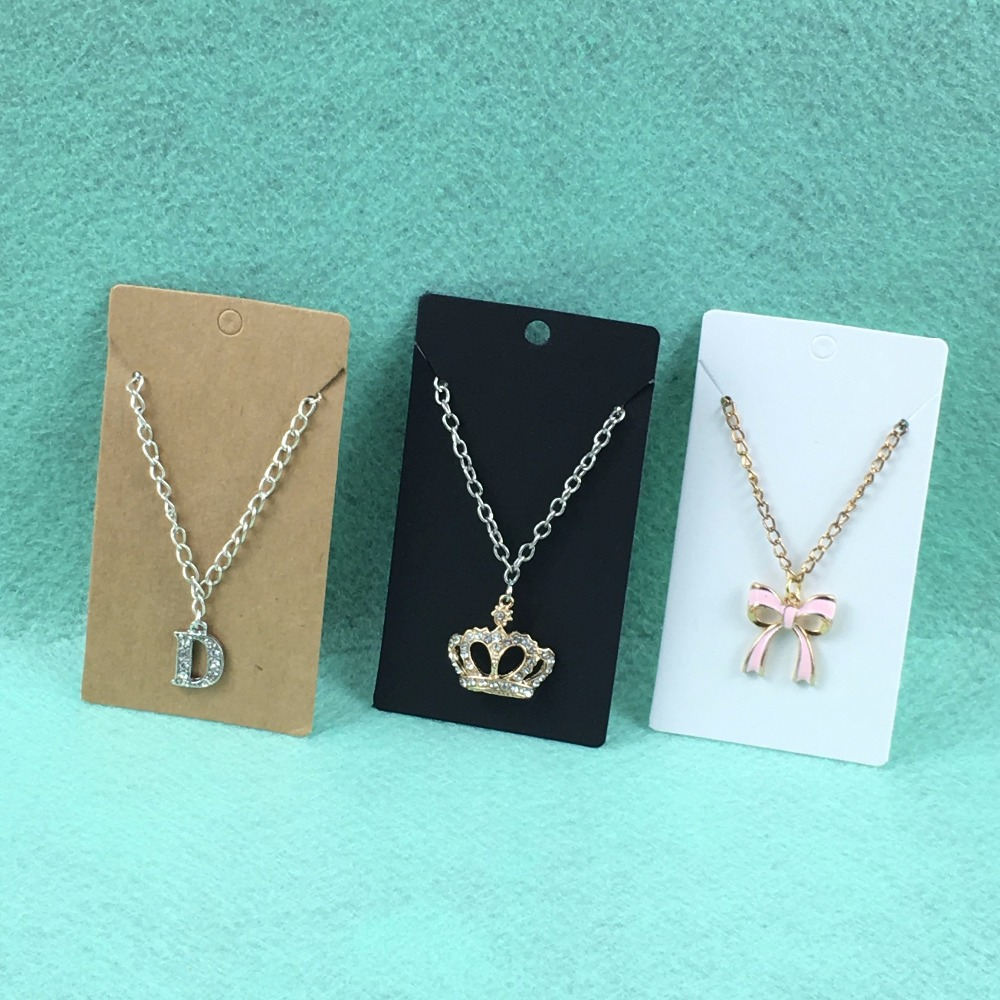Christmas ornament display case - New Hot 100pcs 9 5cm Kraft Paper Blank Necklace Earring Cards Jewelry Ornament Display Card Case