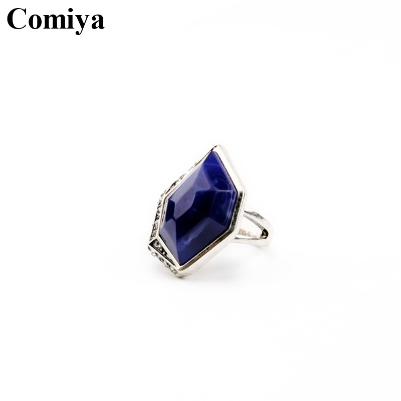 Women fashion jewelry antique silver color filled zinc alloy blue geometric shape imitation stones women finger rings lady ring(China (Mainland))