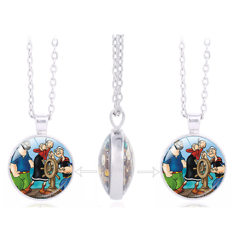 New Listing TV Cartoon Classics: Popeye the Sailor Picture Charm Double Sided Pendant Kids Birthday Favors and Gift(China (Mainland))