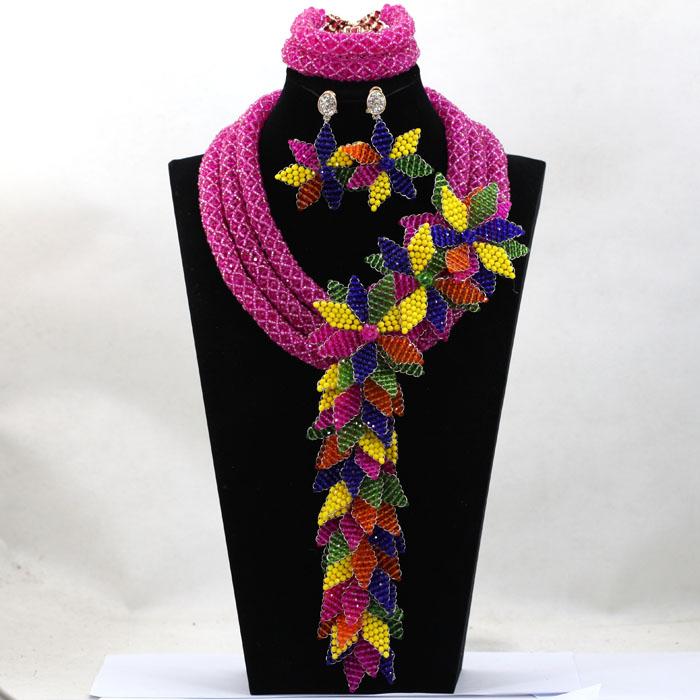 Marvelous Fuchia Pink Wedding African Jewelry Set Luxury Princess Queen Gift Jewelry Set Celebration Beads Free Shipping WA990(China (Mainland))