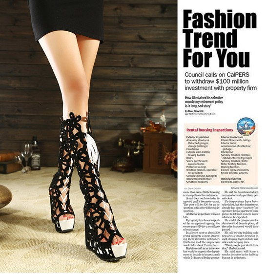 7-free Shipping 2013 Woman Sexy Hollow Out Wedges Summer High Boots