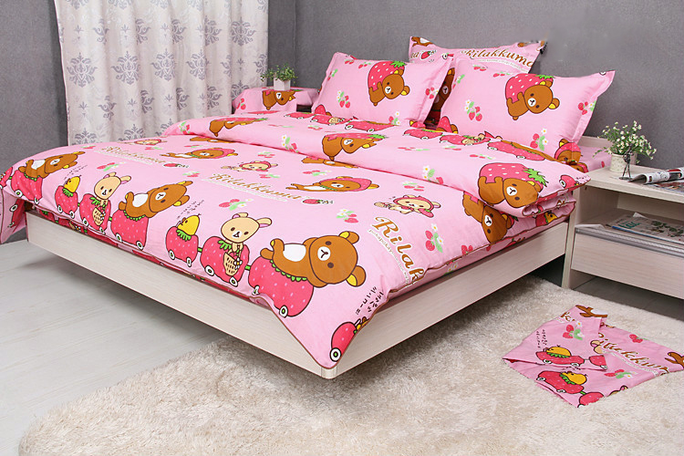Pink Rilakkuma Bedding Set Cute Girls Kids Strawberry Bed Sheets Duvet Cover Set Single Double King 2 or 3 Pcs100% All Cotton(China (Mainland))
