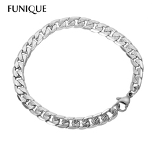 Buy FUNIQUE Men Women Bracelet Recordable Stainless Steel Chain Clasp Bracelet Fit Europeran Charms 21cm Hot Sale for $1.43 in AliExpress store