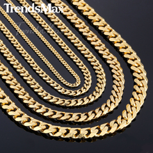 3/5/7/9/11mm Gold Plated Curb Link Chain Stainless Steel Necklace Boys Mens Chain Jewelry KNM08(Hong Kong)