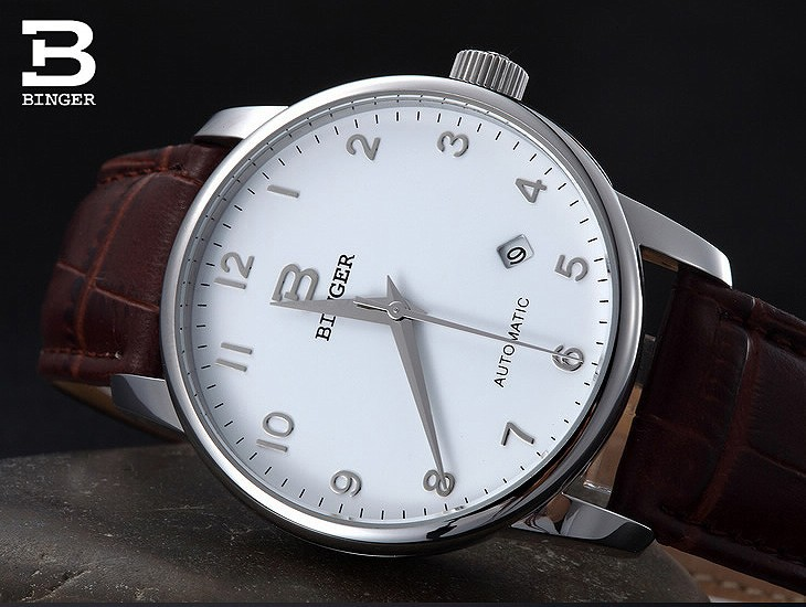 Швейцария часы мужские роскошные brand18K золотые Наручные Часы БИНГЕР бизнес Механические Наручные Часы кожаный ремешок B5005B-4