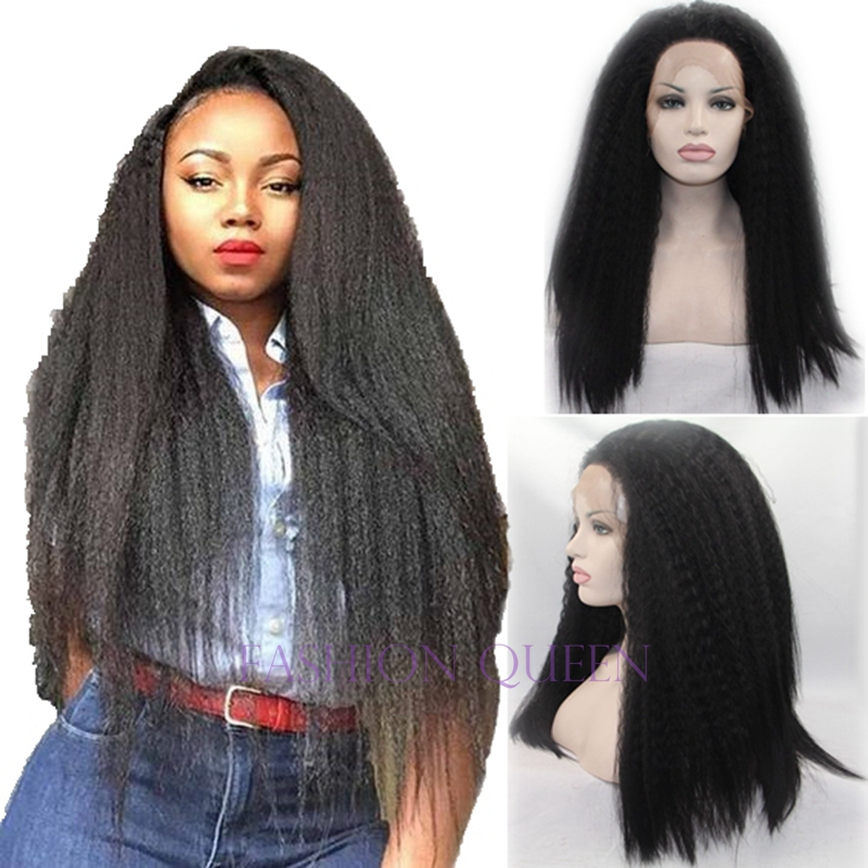 Фотография Hot Italian Yaki coarse lace front wig high density black full hand making afro kinky straight synthetic wigs for black woman