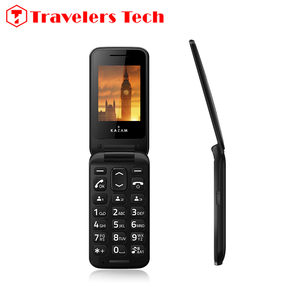 Unlocked 3G Flip Mobile Phone KAZAM Life C6 WCDMA900/2100MHz Dual Display Screen 2.4 Inch Feature Cell Phone Single SIM Black(China (Mainland))
