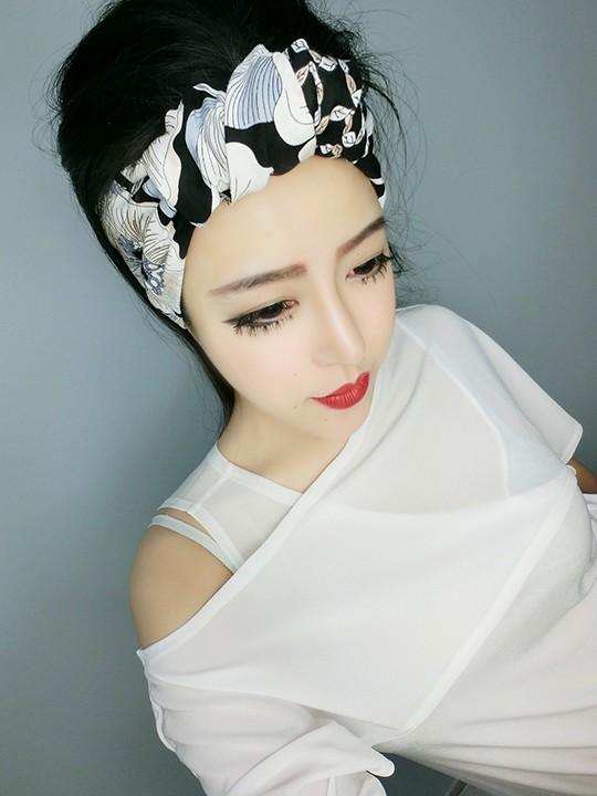 women vintage 50s black white floral print bow tie headband rockabilly pinup style bandans hair scarf wire wrap accessories(China (Mainland))