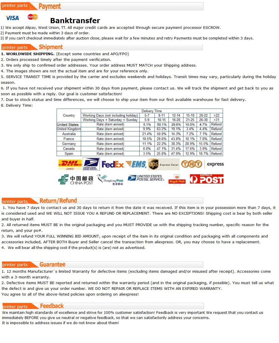 shipping payment service(printer parts)