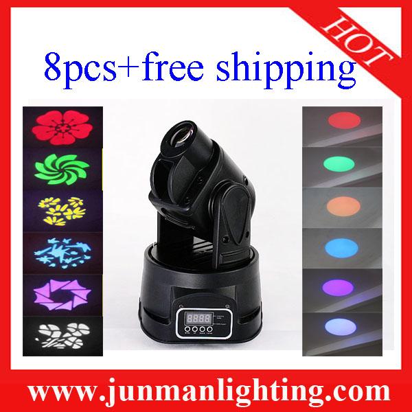 15W Mini Led Moving Head Light Led Head Moving Wash 8pcs Free Shipping(China (Mainland))