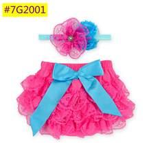 Baby girl Bloomers Diaper Cover and Headband Set,Newborn Tutu Ruffle Panties Baby Girls,Ruffle Lace Baby Short #7G2005(China (Mainland))