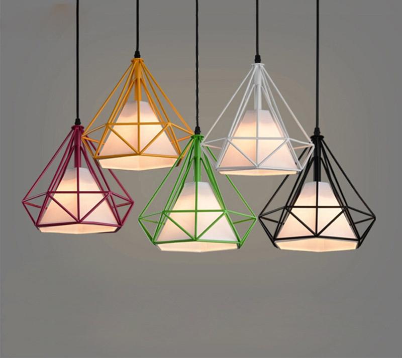 Colorful Birdcage Pendant Lamp Scandinavian Modern Minimalist Art Lamps Pyramid Iron Pendant Light Diamond Creative Restaurant L<br><br>Aliexpress