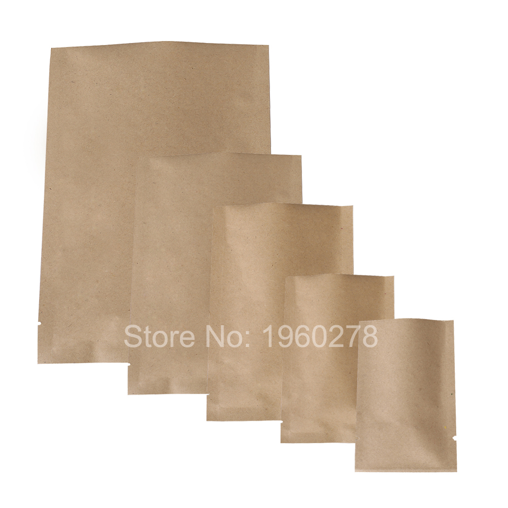 "6x9cm (2.3x3.5"") wholesale Thick flat metallic mylar paper bags coffee tea open top brown kraft paper bag storage(China (Mainland))"