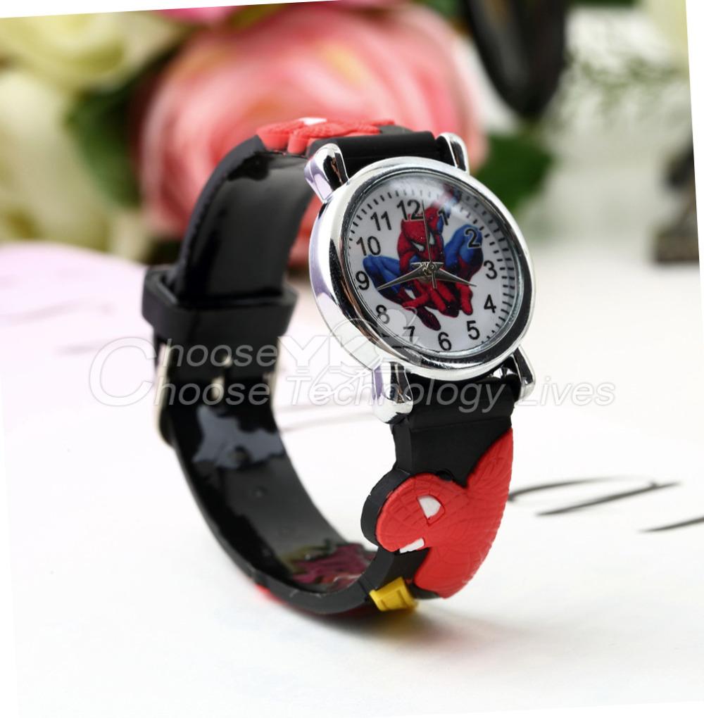 1pcs Red Sports Watch Cute Fashion Cartoon 3D Spiderman Child Wrist Watch Children Watch Gift