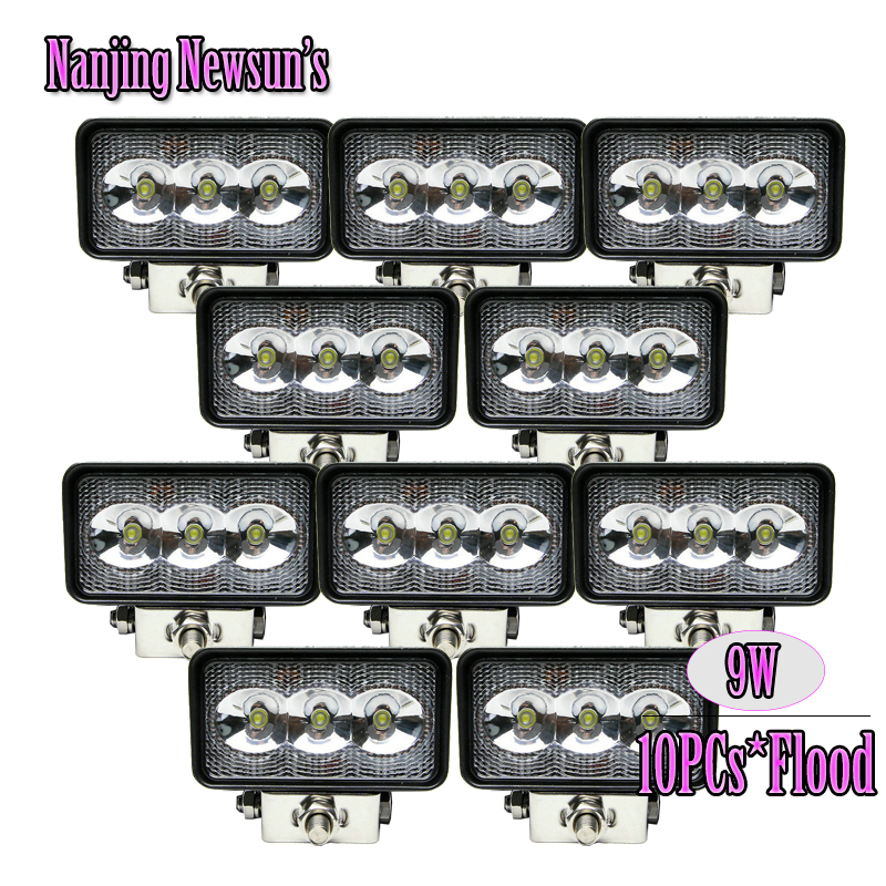10PCs/Lot Wholesale Price Cheap 9W Led Mini Work Light Bar 4Inch For Auto Car Moto Motorcycle Driving Fog Lamp 4x4 4WD Offroad(China (Mainland))