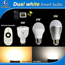 4w 6w 9w dualwhite 2700k-6500k color temperature adjustable gu10 e27 dimmable wifi led smart light bulb milight wireless control(China (Mainland))