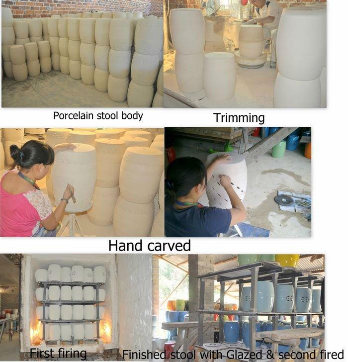 Blue Famille Rose Porcelain Ceramic Garden Stool End Table