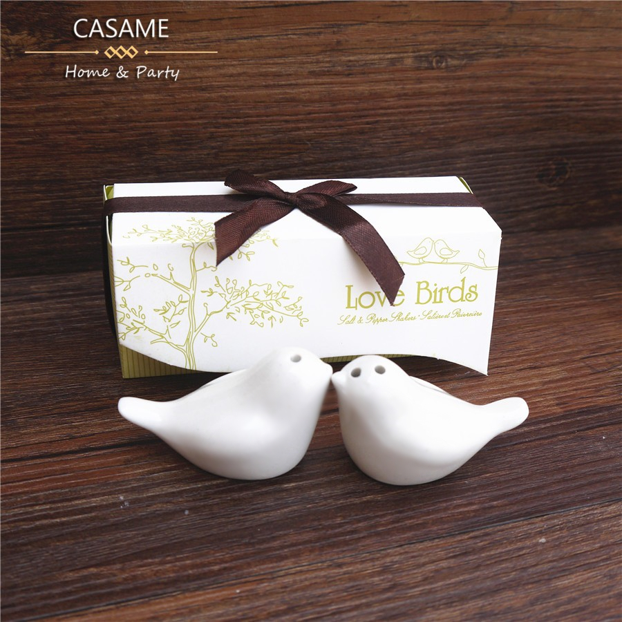 high quality pretty white lovely 2pcs Love bird salt and pepper Shaker 1 sets wedding favors gifts birds wholesale cute gift(China (Mainland))
