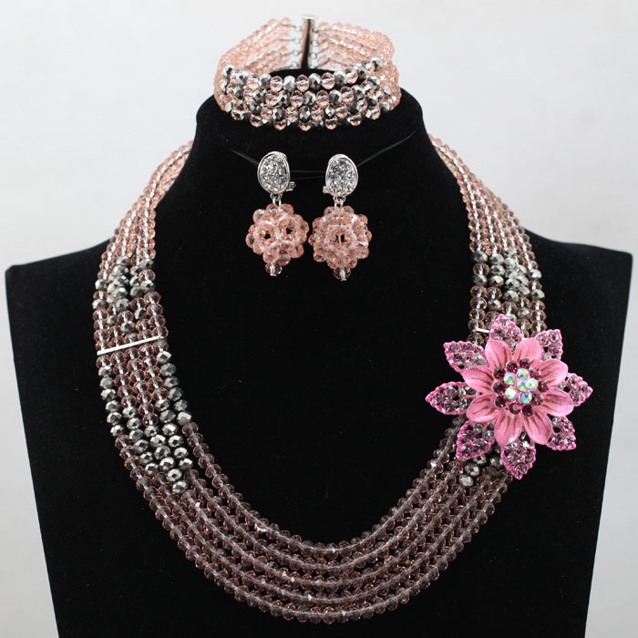 Pretty Pink and Silver Chunky Crystal African Jewelry Set Nigerian Beads Events Necklace Set for Lady Free Shipping WD092(China (Mainland))
