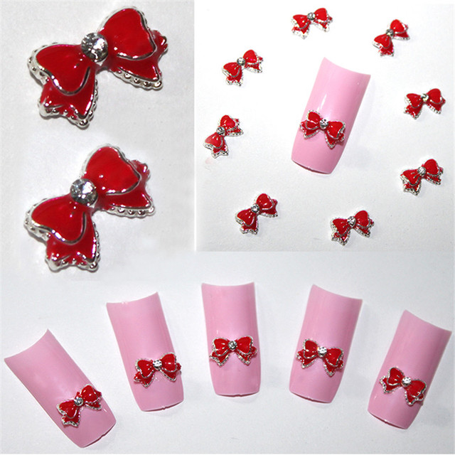 20pcs Red 3d Alloy Bow Tie Rhinestones Nail Art DIY Beauty Nail Stud Decoration Glitters Slices Free Shipping