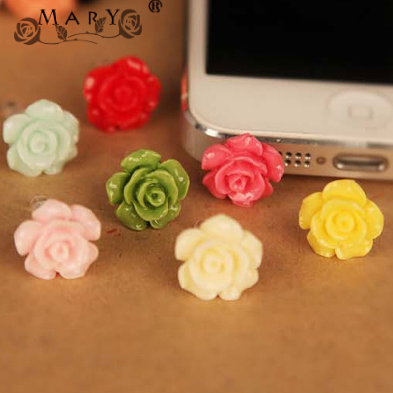 Candy colored roses Anti Dust Plugs 3.5mm Universal Stereo camellia Headphone Jack Cover For iPhone Mobile Phone Accessories(China (Mainland))