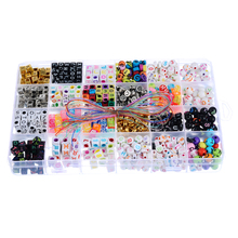 Buy 1Box Mixed Round Cubic Acrylic Alphabet DIY Beads Set Kids Children Jewelry Making DIY Beads Kit Crafts 19x13cm for $7.49 in AliExpress store