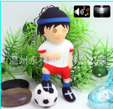 Popular toys cute Soccer Boy small pendant PVC Action Figure LED lights Luminous voice keychain Toy Kids free shipping(China (Mainland))