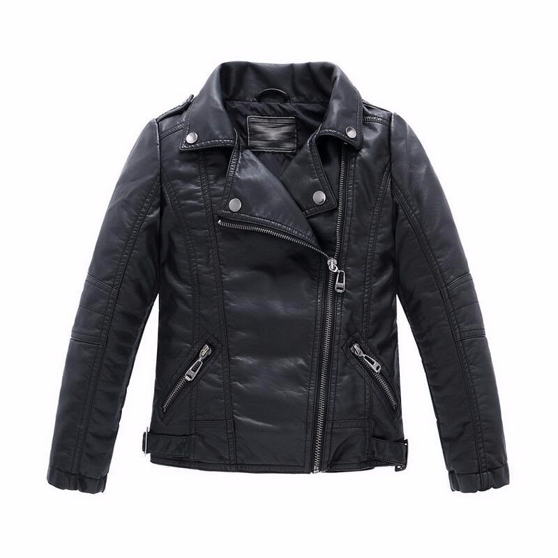 2016 PU leather kids outwear jackets casual boy turn down autumn spring winter girl coats Unisex children's outwear jacket coat(China (Mainland))