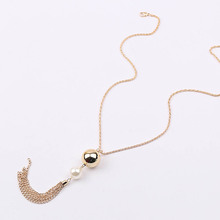 Buy Fashion Charm collares Imitation Pearl Pendant Beads Long Tassels Big Pendant Long Chain Sweater Necklace Jewelry Woman for $1.23 in AliExpress store