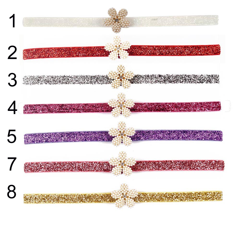 24 Pcs/lot New Fashion High Quality Handmade Glitter Pearl Flower Headband Hairband For Baby Girls Toddler Hair Accessories(China (Mainland))