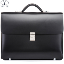 New Arrival Fashion Black Briefcase Men's Business Briefcase Leather High Quality Cow Leather Laptop Messenger Bag(China (Mainland))