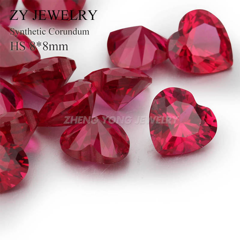 8x8mm High Quality Heart Shape Loose Ruby 5# Corundum Synthetic Gemstone Beads<br><br>Aliexpress