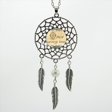 2016 Trendy Style Once Upon A Time Necklace Letter Pendant Quote Jewelry Silver Dreamcatcher Necklace DC-00385(China (Mainland))