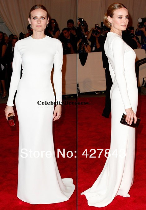 diane-kruger-in--white-dress-met-gala-Modest Diane Kruger High Collar Sheath White Long Sleeves Satin Muslim Formal Red Carpet Celebrity Dress Evening Gown
