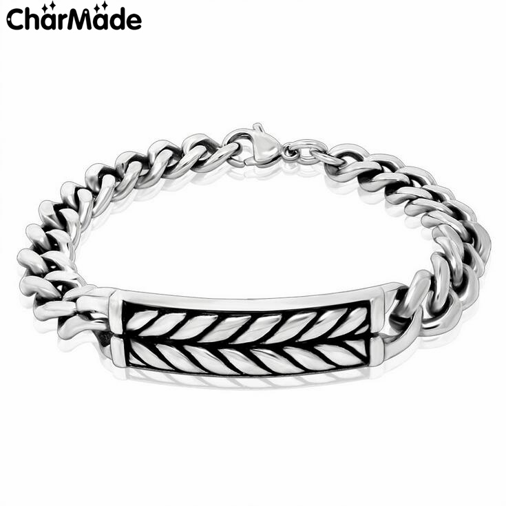 9mm width Mens boys grain curb chain Bracelet in silver tone 100% 316L stainless steel couples biker bracelets CharMade B306(China (Mainland))