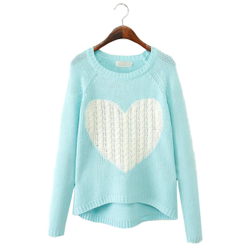 New Fashion Women Elegant Heart Pattern Pullover O Neck Long Sleeve Knitwear Stylish Casual Slim Knitted Woolen Sweater Tops Hot(China (Mainland))