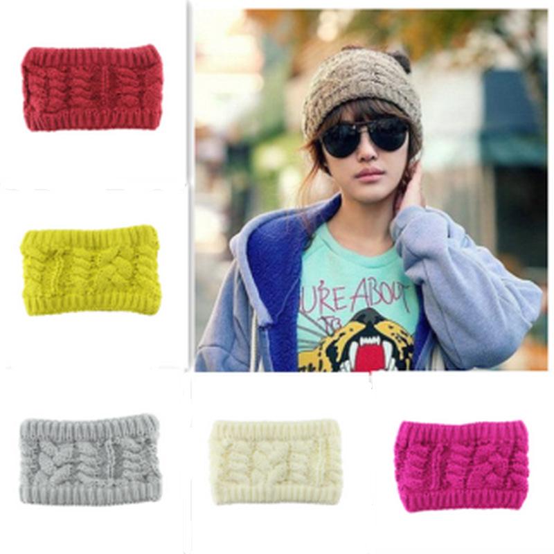 6 Colors Flower Crochet Headwrap Headband Soft twist wool knit scarf Knitted Ear Warmer Knitted Head Band Turban Style Headband(China (Mainland))
