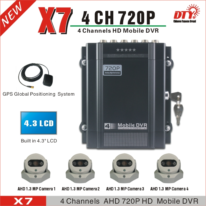 DTY X7G GPS tracking, 100% test before delivery school bus truck mobile dvr mdvr 4ch ahd dvr(China (Mainland))