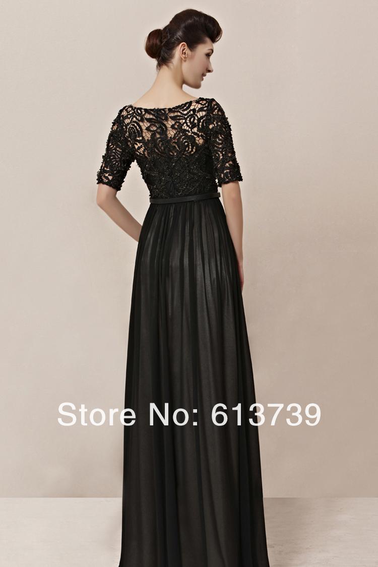 Robe noire longue avec dentelle