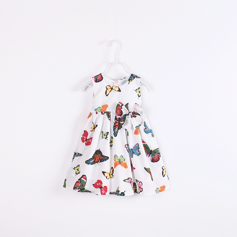 Hu Sunshine wholesale New 2016 spring Summer baby girls dresses lovely butterfly print and bowtie princess  dress<br><br>Aliexpress