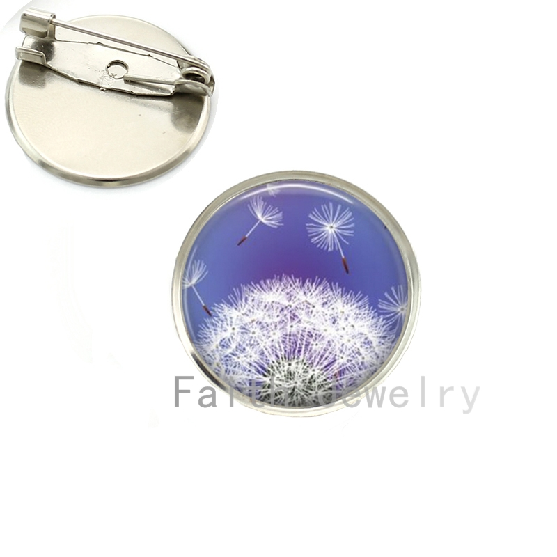Assorted Colours 10 Designs brooch pins Fresh charming spring summer style flying Dandelion Seed art picture brooches NS097(China (Mainland))